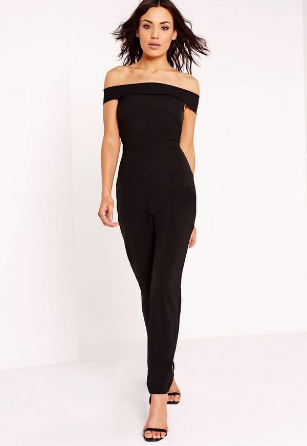 Crepe Skinny Bardot Jumpsuit Black
