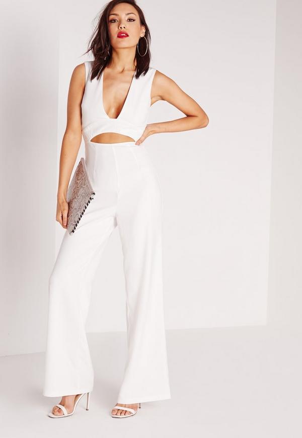 Crepe Plunge Waist Cut Out Jumpsuit White
