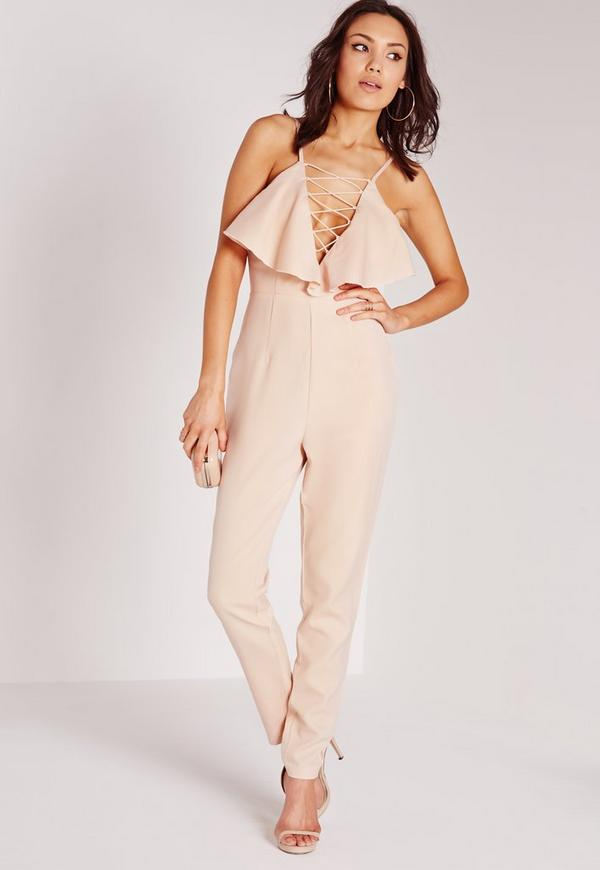 Crepe Frill Lace Up Jumpsuit Nude