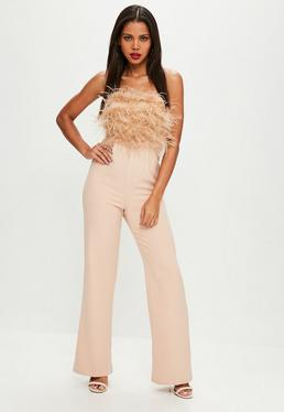 Feather Front Bandeau Jumpsuit Nude