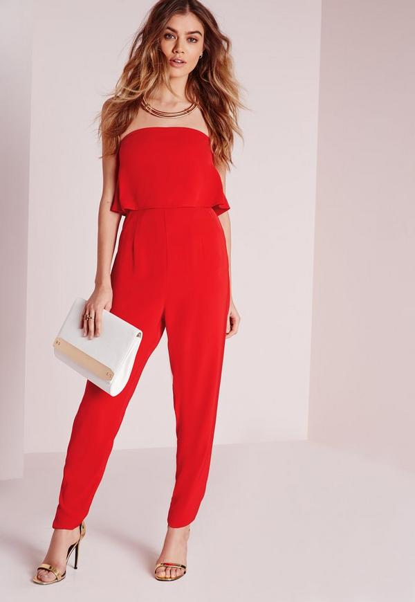 Double Layer Bandeau Jumpsuit Red