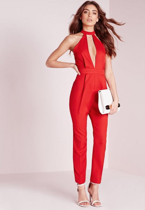 Split Front Jumpsuit Red