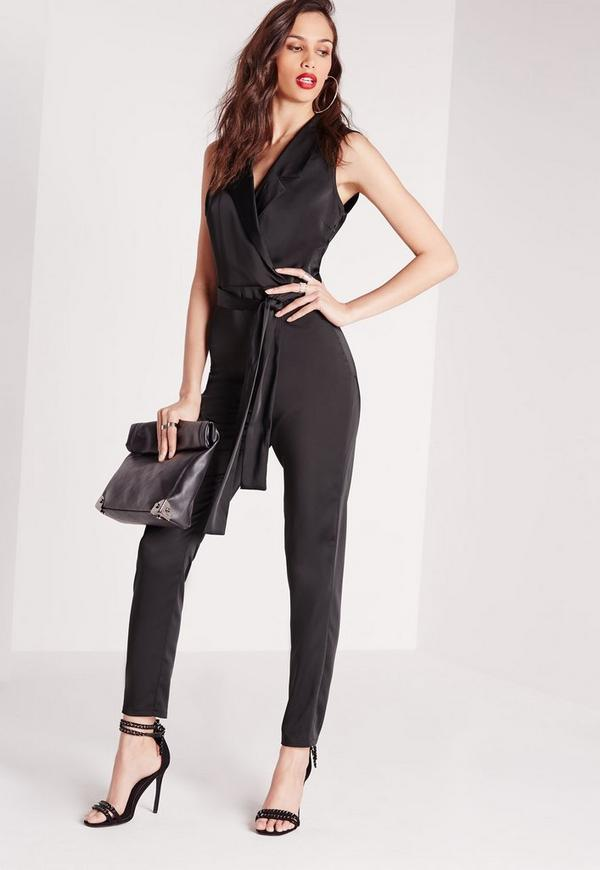 Silky Wrap Sleeveless Shirt Jumpsuit Black