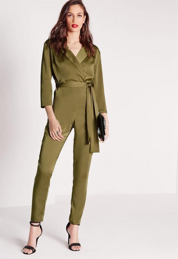 Silky Wrap 3/4 Sleeve Shirt Jumpsuit Khaki