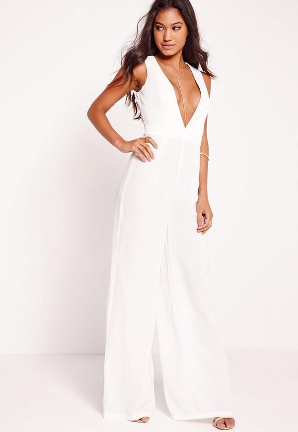 Crepe Gold Chain Detail Jumpsuit White