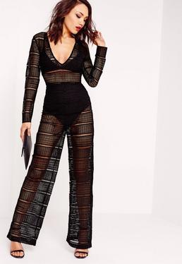 Sheer Lace Knicker Insert Jumpsuit Black