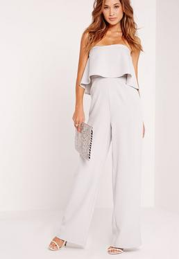 Crepe Frill Wide Leg Jumpsuit Grey
