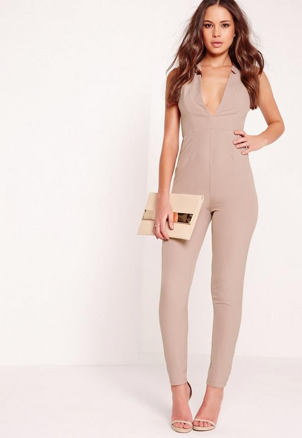 Crepe Sleeveless Tailored Jumpsuit Nude