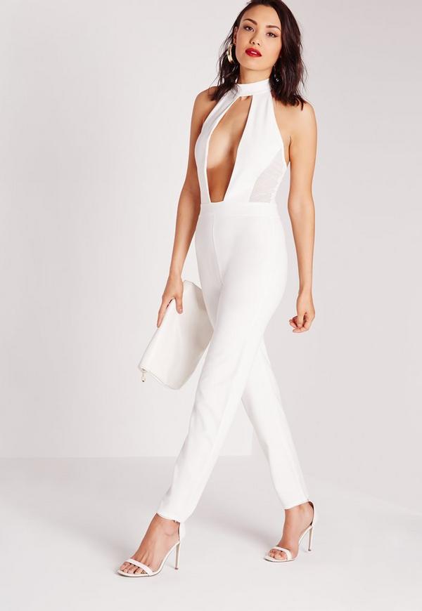 mesh extreme plunge choker jumpsuit white