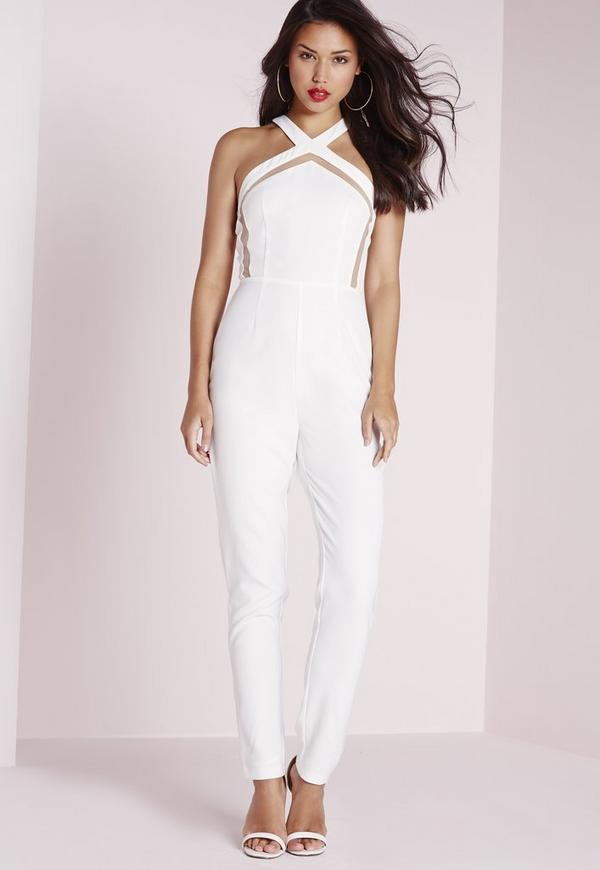 Mesh Insert Tapered Leg Jumpsuit White