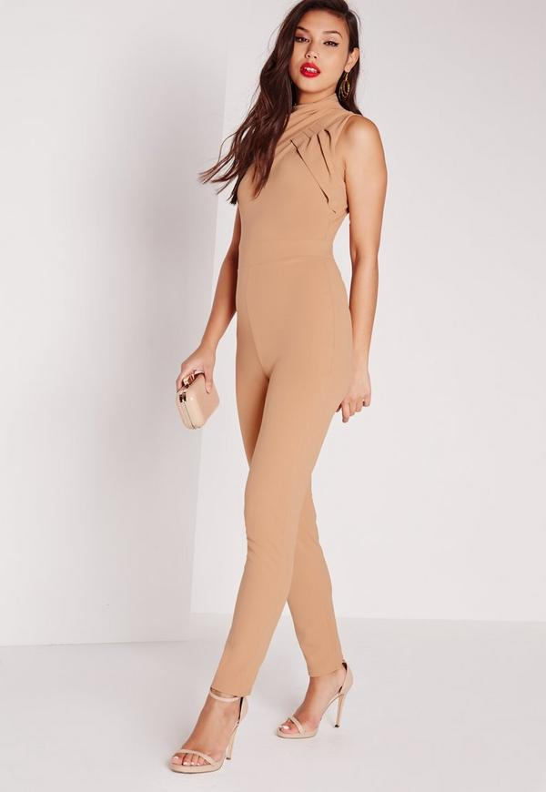 Crepe Twist Neck Jumpsuit Camel