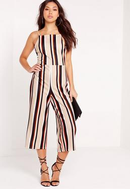 Crepe Striped Culotte Jumpsuit Camel