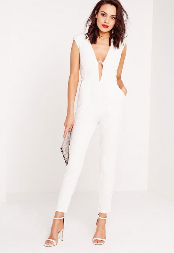 Crepe Bar Detail Jumpsuit White