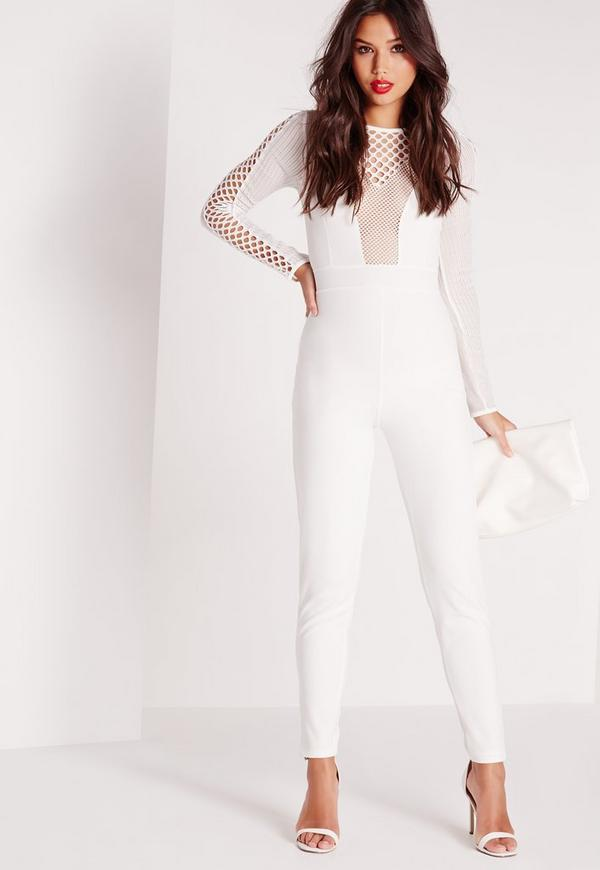 Fishnet Mesh Insert Jumpsuit White