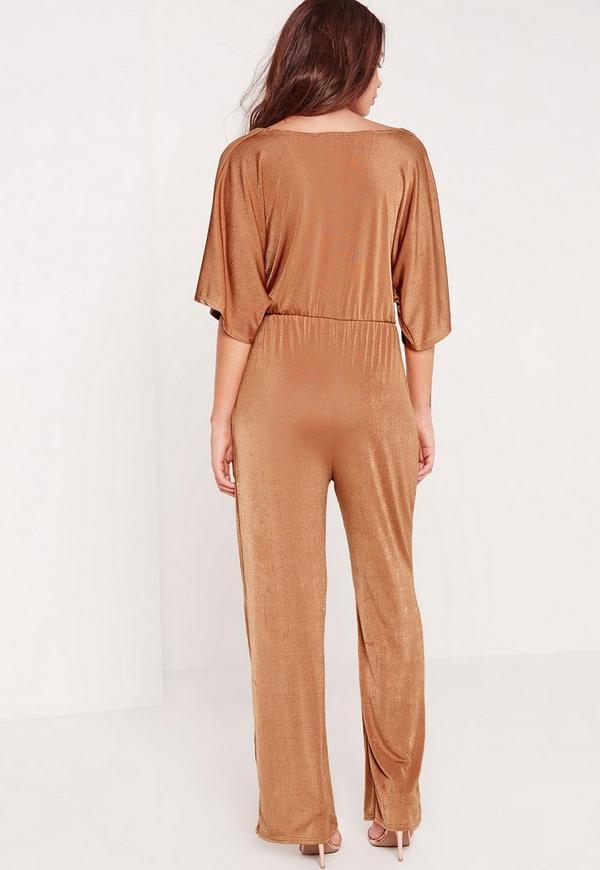 45769933fe Slinky Kimono Sleeve Knot Front Jumpsuit Tan