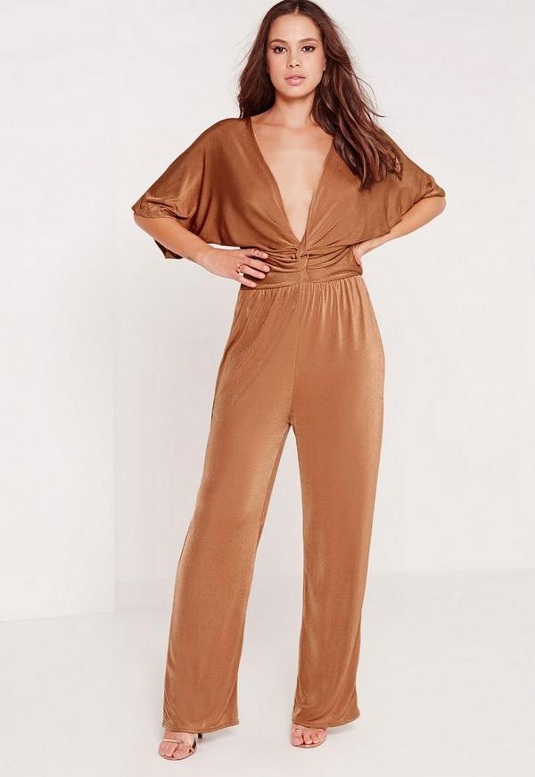 643c91297a Slinky Kimono Sleeve Knot Front Jumpsuit Tan. Was  50.00. Now  20.00 (60%  off). Previous Next