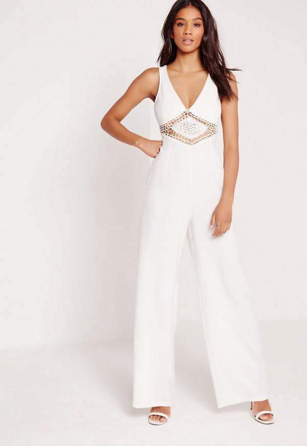 Crepe Crochet Detail Waist Jumpsuit White