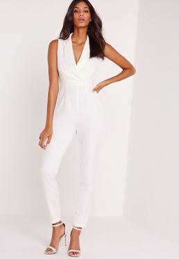 Crepe Blazer Detail Jumpsuit White