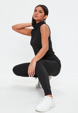 Roll Neck Skinny Rib Jumpsuit Black