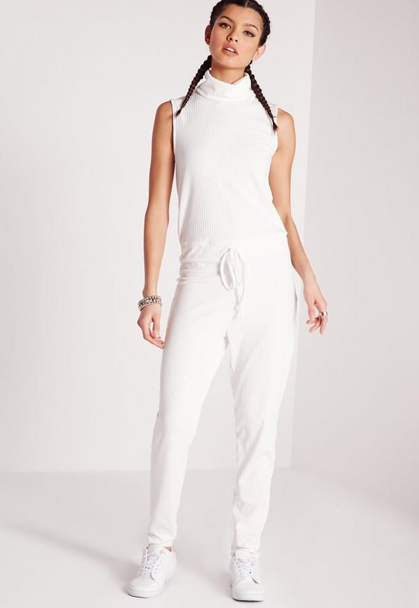 Roll Neck Skinny Rib Jumpsuit White