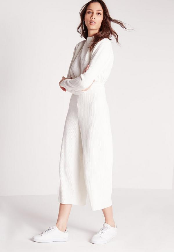 Long Sleeve Ribbed Culotte Jumpsuit White