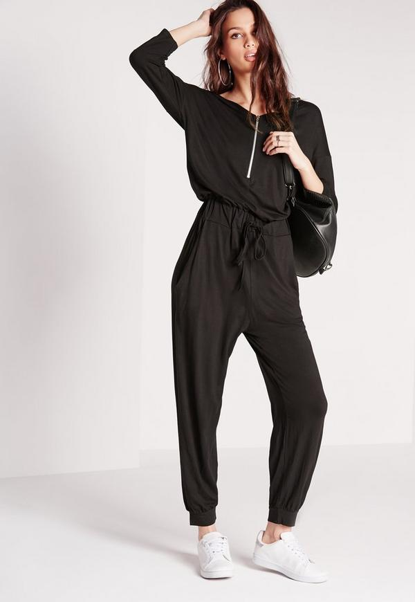 Jersey Zip Front Jumpsuit Black