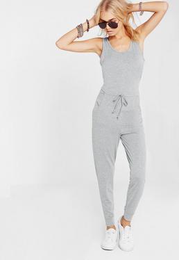 Ärmelloser Jersey-Jumpsuit in Grau