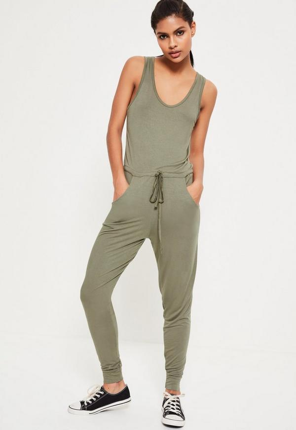 Khaki Jersey Sleeveless Jumpsuit