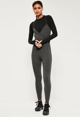 Grey Jersey Wrap Jumpsuit
