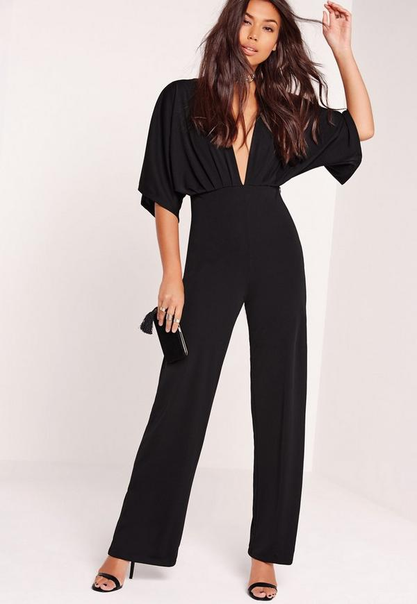 Slinky Batwing Wide Leg Jumpsuit Black