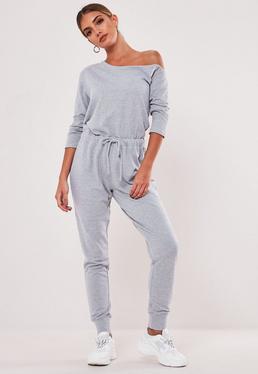 cb6f050f560 Grey Jersey Ribbed Pocket Front Jumpsuit · Grey Off Shoulder Drawstring  Jumpsuit
