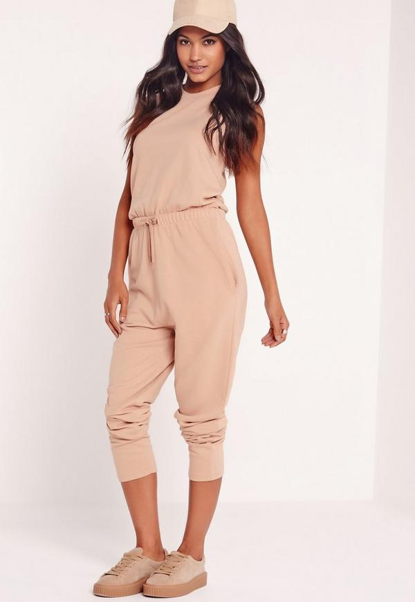 Loop Back Sleeveless Jumpsuit Camel