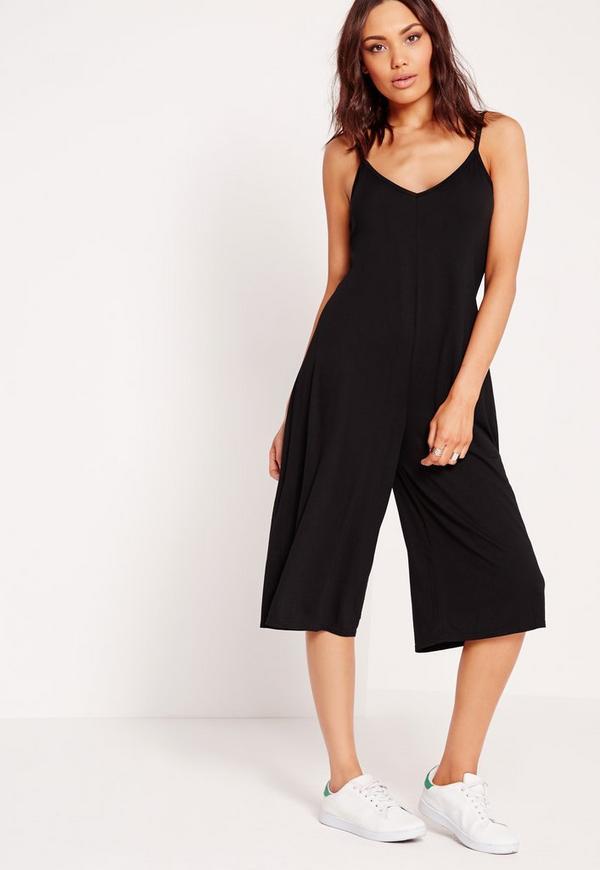 Jersey Strappy Plunge Culotte Jumpsuit Black