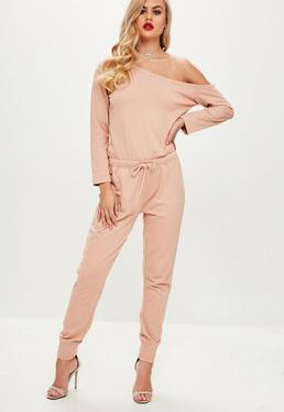 Off The Shoulder Jumpsuit Nude