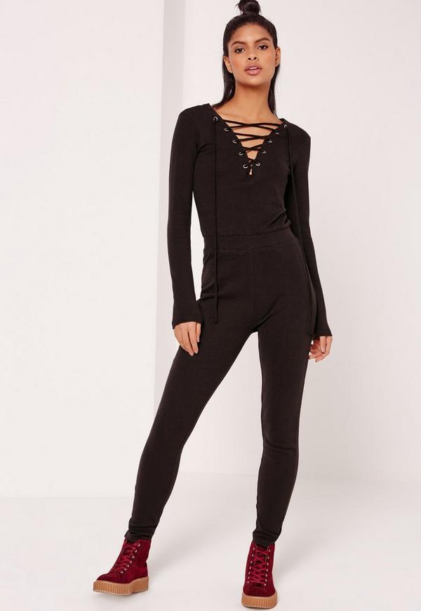 Black Loop Back Lace Up Jumpsuit