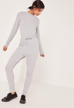 Grey Loopback Long Sleeve Jumpsuit