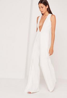 Crepe Origami Detail Jumpsuit White