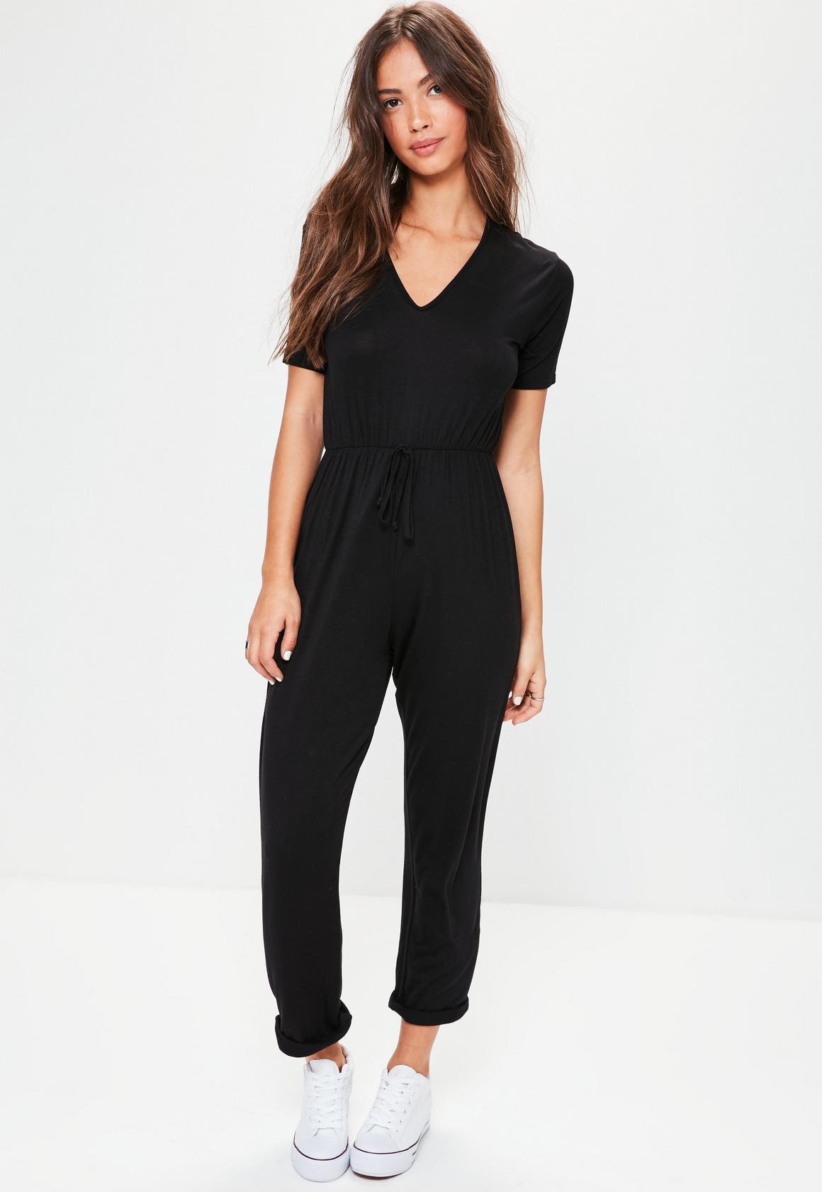 Black Jersey Short Sleeve Jumpsuit - Missguided