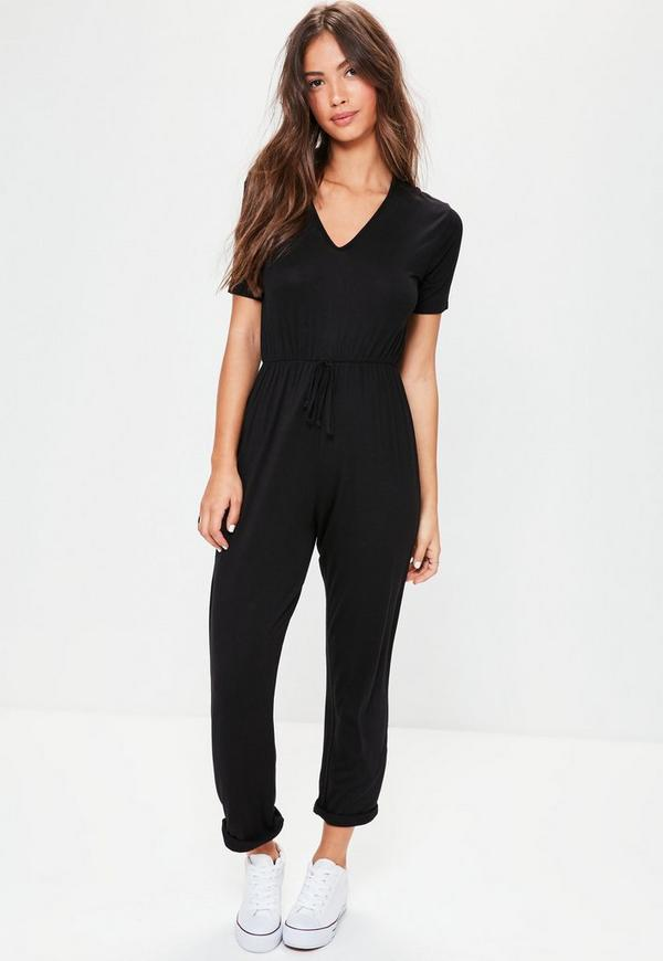 Black Jersey Short Sleeve Jumpsuit