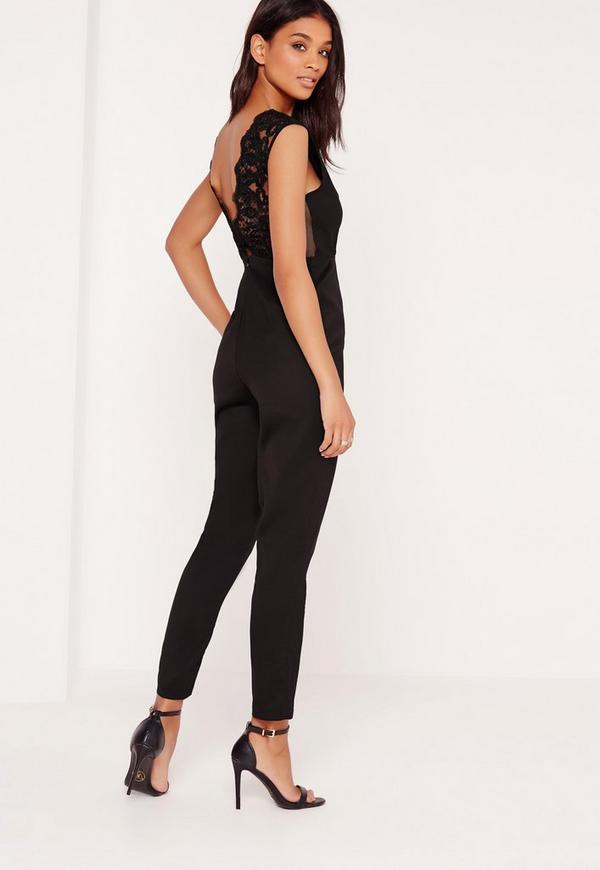 Lace Back Detail Jumpsuit Black
