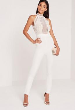 Crepe Lace High Neck Sleeveless Jumpsuit White