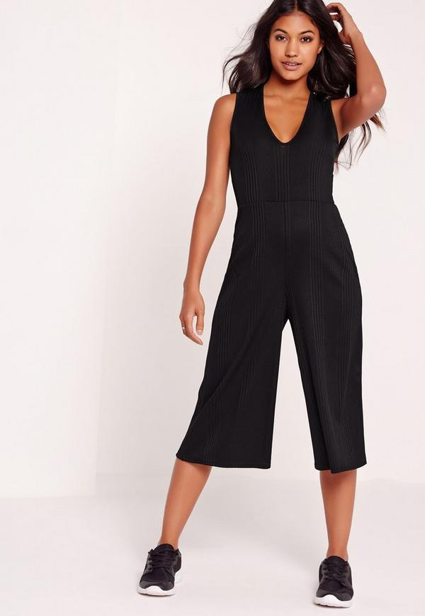 Ribbed Plunge Culotte Jumpsuit Black