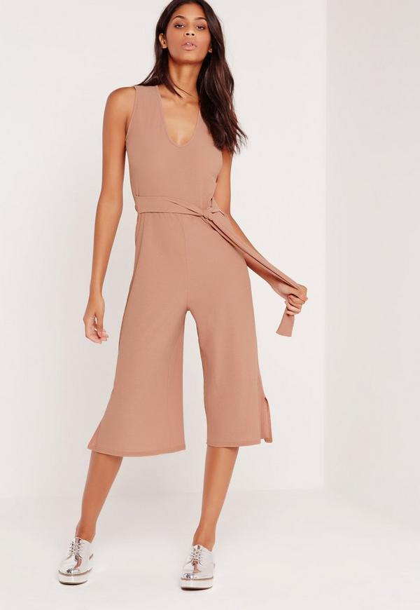 Jersey Cheese Cloth Belted Culotte Jumpsuit Pink