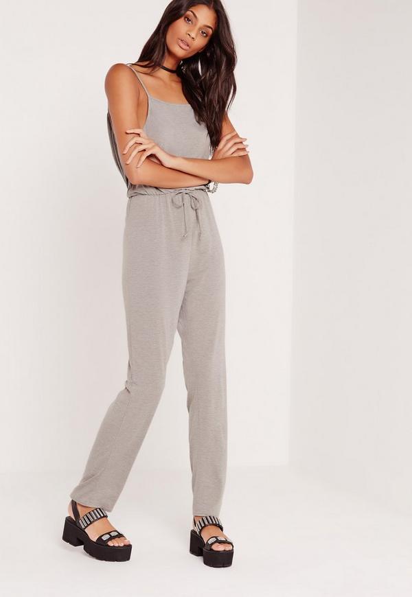 Jersey Cowl Back Jumpsuit Grey