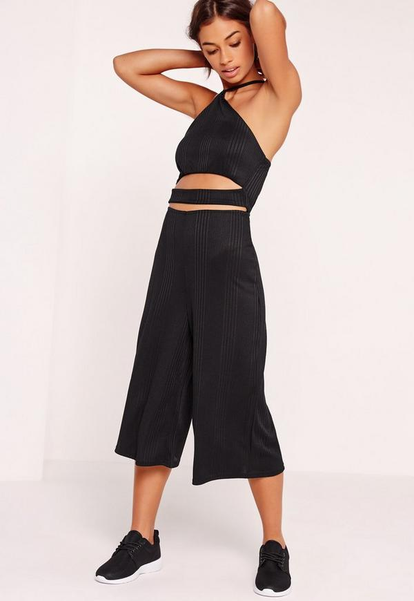 Ribbed High Neck Cut Out Waist Cullotte Jumpsuit Black