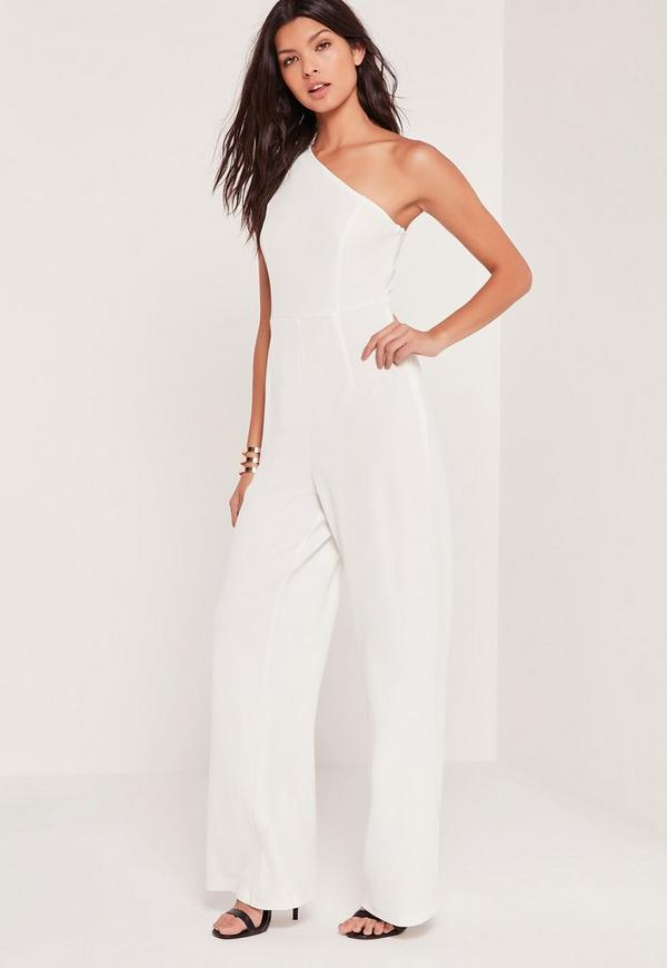 Crepe One Shoulder Jumpsuit White