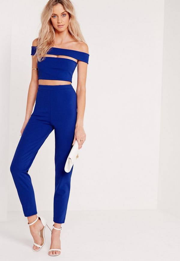 Bandage Bardot Tapered Leg Jumpsuit Blue