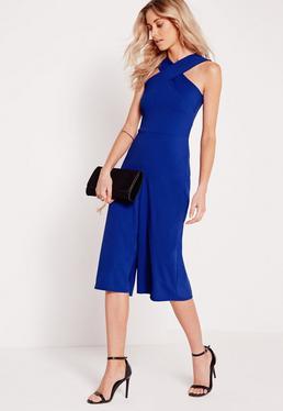 Combi jupe-culotte en crêpe bleu bretelles croisées