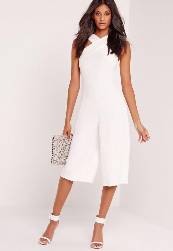 Crepe Cross Front Strap Culotte Jumpsuit White
