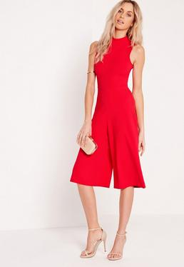 High Neck Culotte Jumpsuit Red